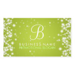 Simple Sparkle Monogram Lime Green Business Card Templates