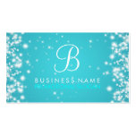 Simple Sparkle Monogram Turquoise Business Card Template