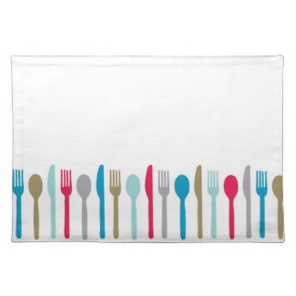 Simple spoon fork knives colored placemat