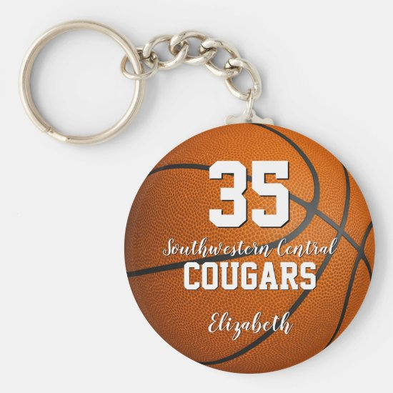 simple sporty girly script basketball team name keychain