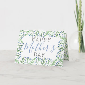 Simple Spring Blueberries Happy Mother's Day Card