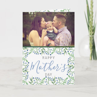 Simple Spring Blueberries Photo Mother's Day Card
