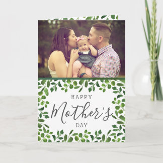 Simple Spring Foliage Photo Mother's Day Card