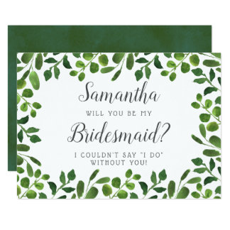 Simple Spring Foliage | Will You Be My Bridesmaid? Invitation