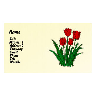 Simple Spring Tulip Biz Cards Double-Sided Standard Business Cards (Pack Of 100)