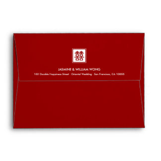 Simple Square Double Happiness Chinese Wedding Envelope