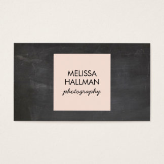 Simple Square Logo on Chalkboard for Photographers Business Card