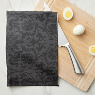 Simple Square Monogram on Black Damask Kitchen Towel