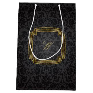 Simple Square Monogram on Black Damask Medium Gift Bag