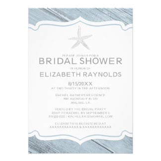 Simple Starfish Beach Bridal Shower Invitations Custom Invite