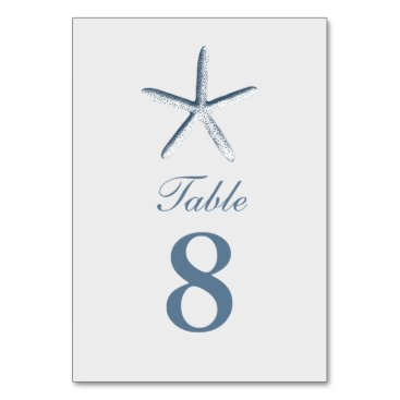 Beach Themed Simple Starfish Beach Wedding Table Numbers