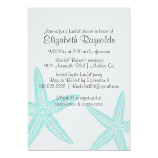 Simple Starfish Bridal Shower Invitations Personalized Announcement