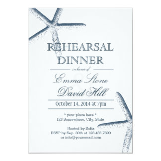 Simple Starfish Rehearsal Dinner Invitations