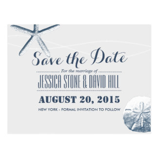 Simple Starfish & Sand Dollar Save the Date Postcard