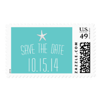 Simple Starfish Teal Save The Date Wedding Stamps