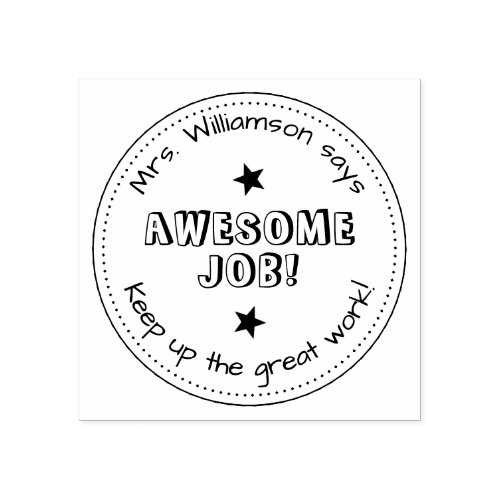 Simple Stars  Personalized  Awesome Job Teacher Rubber Stamp
