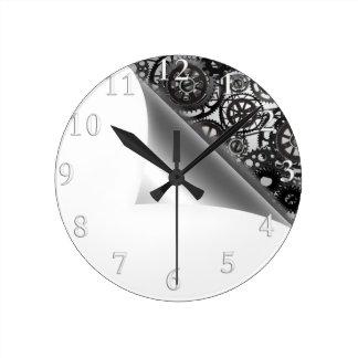 simple steam punk corner paper design round clock