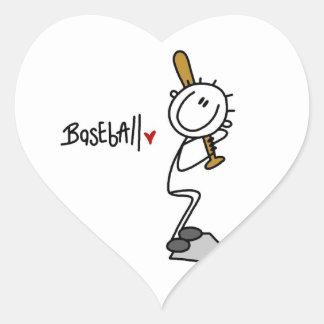 Simple Stick Figure Baseball T-shirts and Gifts Heart Sticker