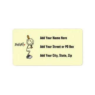 Simple Stick Figure Baseball T-shirts and Gifts Address Label