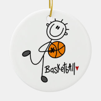 Simple Stick Figure Basketball T-shirts and Gifts Ceramic Ornament