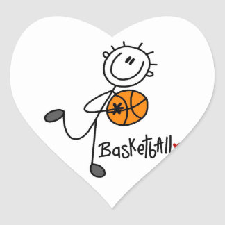 Simple Stick Figure Basketball T-shirts and Gifts Heart Sticker