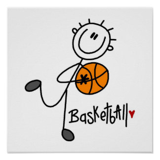Simple Stick Figure Basketball T-shirts and Gifts Poster