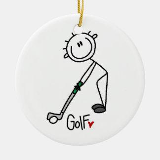 Simple Stick Figure Golfer Ceramic Ornament