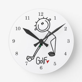 Simple Stick Figure Golfer Round Clocks