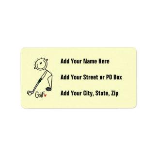 Simple Stick Figure Golfer Custom Address Labels