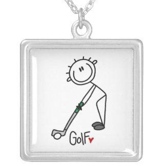 Simple Stick Figure Golfer Square Pendant Necklace