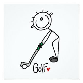 Simple Stick Figure Golfer Personalized Invite