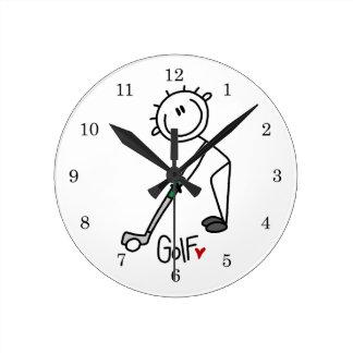 Simple Stick Figure Golfer Round Clock
