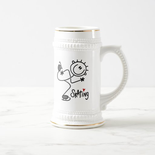 Simple Stick Figure Ice Skating T-shirts and Gifts Mugs