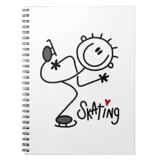 Simple Stick Figure Ice Skating T-shirts and Gifts Notebook