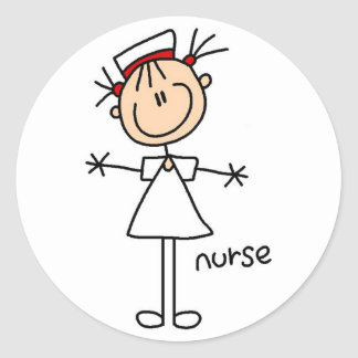 Simple Stick Figure Nurse T-shirts and Gifts Classic Round Sticker
