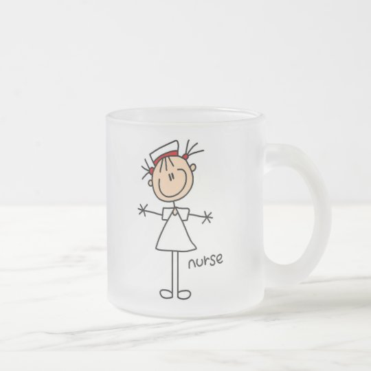 Simple Stick Figure Nurse Tshirts and Gifts Frosted Glass Coffee Mug