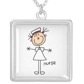 Simple Stick Figure Nurse Tshirts and Gifts Square Pendant Necklace