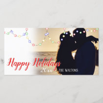 Simple String Lights Happy Holidays Photo Card
