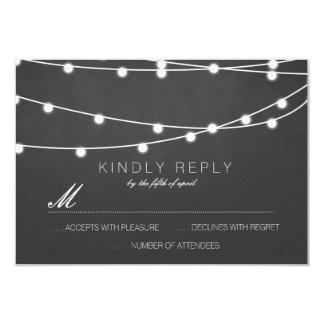 Simple String of Lights Wedding RSVP   Wedding Card