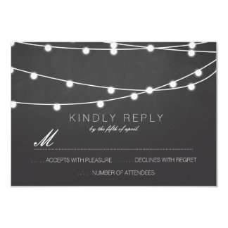 Simple String of Lights Wedding RSVP | Wedding 3.5x5 Paper Invitation Card
