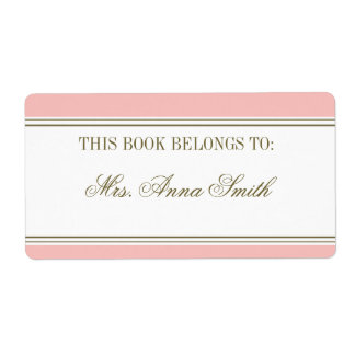 Simple Stripe Blush Pink Bookplate Personalized Shipping Labels