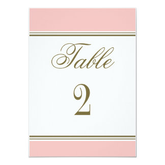 "Simple Stripe Blush Pink Reception Table Number 4.5"" X 6.25"" Invitation Card"