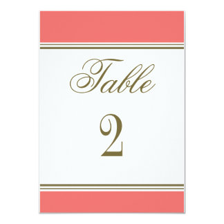 Simple Stripe Coral Reception Table Number Card