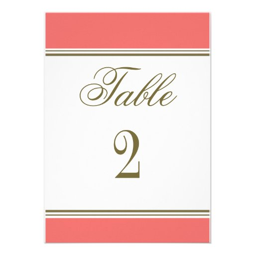 Simple Stripe Coral Reception Table Number Invitations