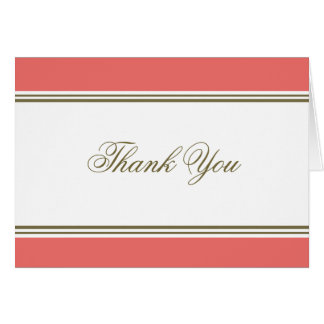 Simple Stripe Coral Thank You Note Card