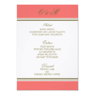Simple Stripe Coral Wedding Menu Personalized Announcement