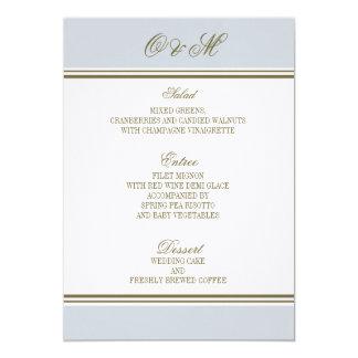 Simple Stripe French Blue Wedding Menu Invite