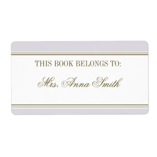 Simple Stripe Mauve Bookplate