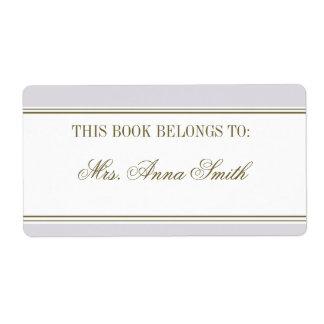 Simple Stripe Mauve Bookplate Custom Shipping Label