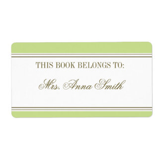 Simple Stripe Spring Green Bookplate Shipping Labels